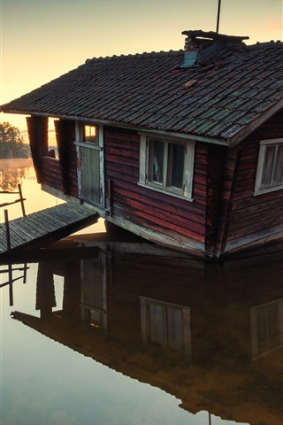 iPhone Wallpaper Lake, wooden house, trees, morning, sunrise