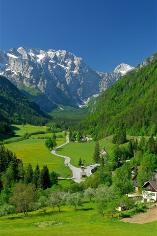 iPhone Wallpaper Logarska Dolina Valley, Slovenia, mountains, trees, houses, road