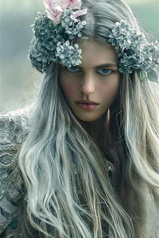 iPhone Wallpaper Long hair girl, wreath, makeup