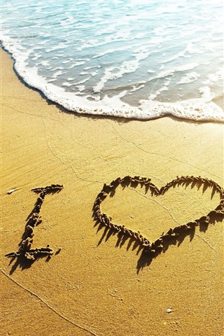 iPhone Wallpaper Love heart beach, waves, I Love, sunshine