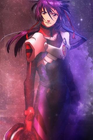 iPhone Wallpaper Macross Frontier: Infinity, blue hair anime girl