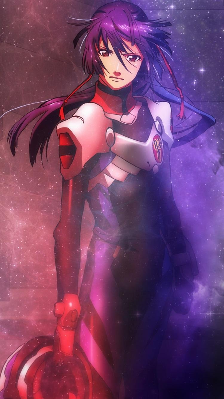 マクロスfrontier インフィニティ 青い髪のアニメの女の子 750x1334