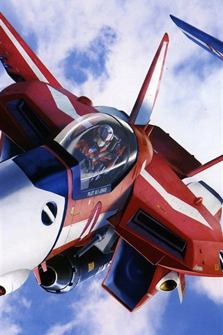 iPhone Wallpaper Macross, red and blue fighter