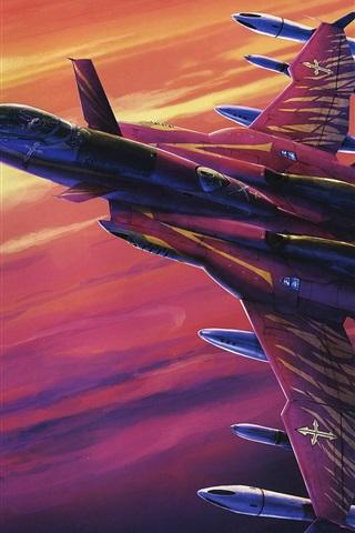 iPhone Wallpaper Macross, red fighter in sky