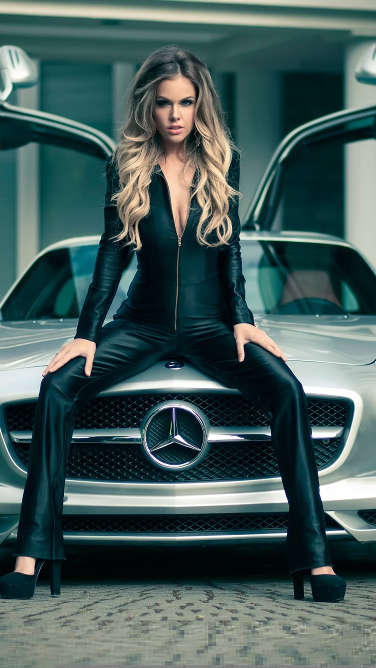 Mercedes Sls Car And Girl 750x1334 Iphone 8766s Wallpaper