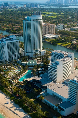 Miami Florida Usa City Scenery Skyscrapers Beach Sea River 750x1334 Iphone 8 7 6 6s Wallpaper Background Picture Image