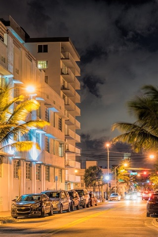 iPhone Wallpaper Miami, Florida, USA, city street at evening, lights