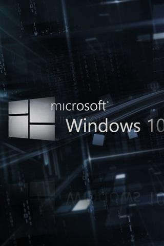 iPhone Papéis de Parede Microsoft Windows 10 logotipo, fundo 3D