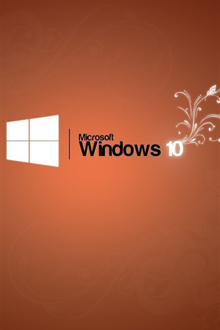 iPhone Papéis de Parede Microsoft Windows 10 logotipo, fundo alaranjado