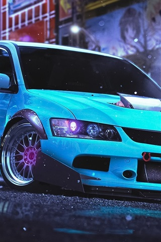 iPhone Wallpaper Mitsubishi Lancer Evolution 9 blue car