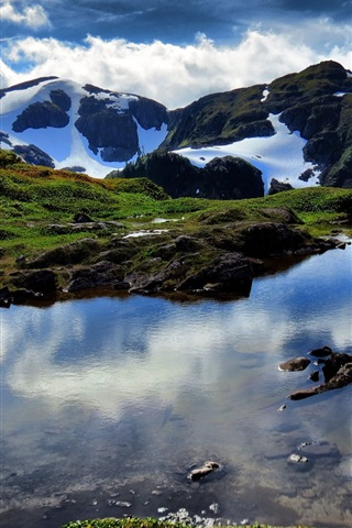 iPhone Wallpaper Nature landscape, mountains, rocks, snow, lake, clouds