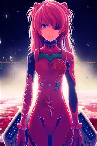 iPhone Wallpaper Neon Genesis Evangelion, the red world