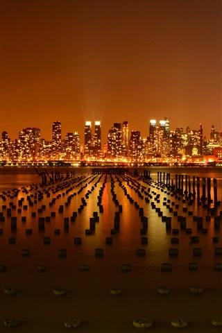 iPhone Wallpaper New York city, USA, pier, Hudson River, night, skyscrapers, lights