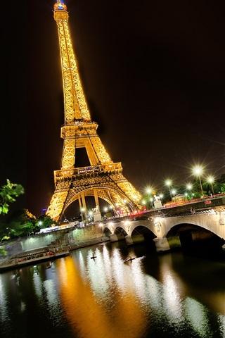 iPhone Wallpaper Night view Eiffel Tower, Paris, France, Seine river, lights, bridge