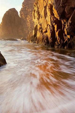 iPhone Wallpaper Ocean, beach, cliff, summer, sun rays