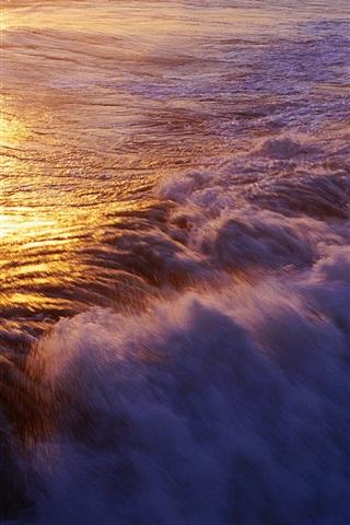 iPhone Wallpaper Ocean surf, waves, sunset