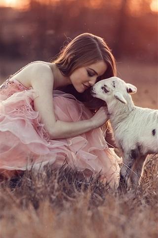 iPhone Wallpaper Pink dress girl with sheep, grass, sunset