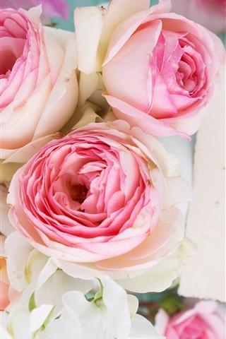 iPhone Wallpaper Pink rose flowers, bouquet, wood board