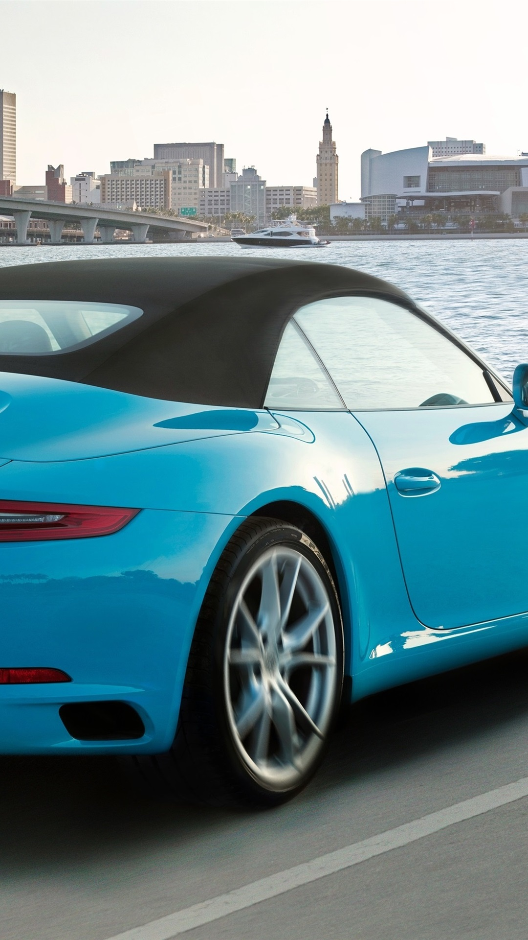 Porsche 911 Carrera S Cabriolet Blue Supercar Back View