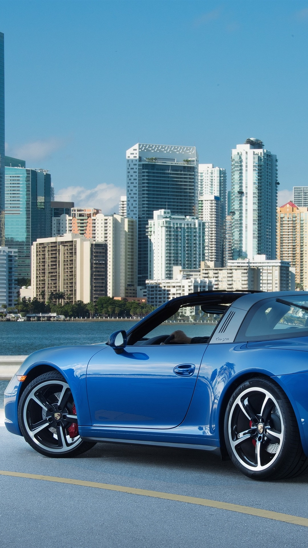 Porsche 911 Targa 4s Blue Supercar At City 1080x1920 Iphone