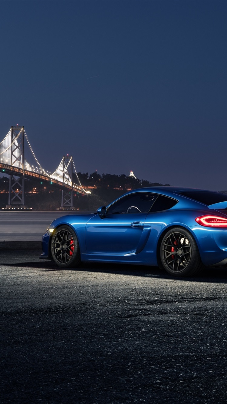 Porsche Cayman Gt4 Blue Car At Night 750x1334 Iphone 8 7 6
