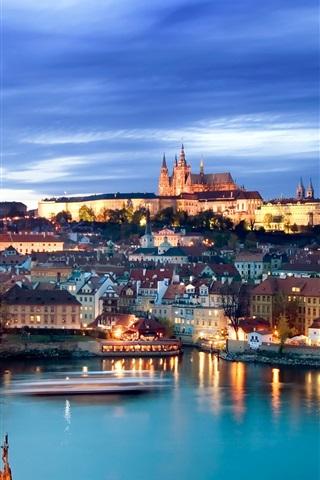 iPhone Wallpaper Prague, Czech Republic, Charles Bridge, river, city night view, lights
