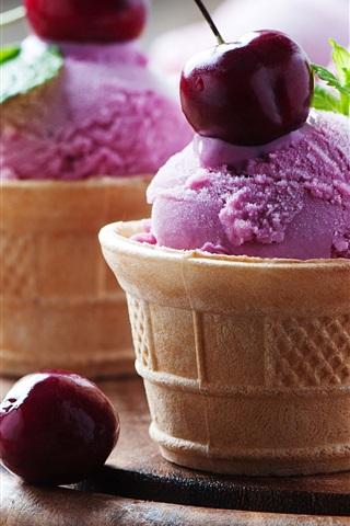 iPhone Wallpaper Purple color ice cream, cherries