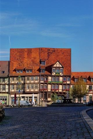 iPhone Wallpaper Quedlinburg, Germany, houses, street, road