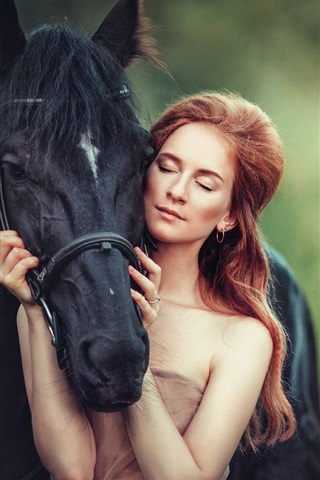 iPhone Wallpaper Red hair girl with black horse