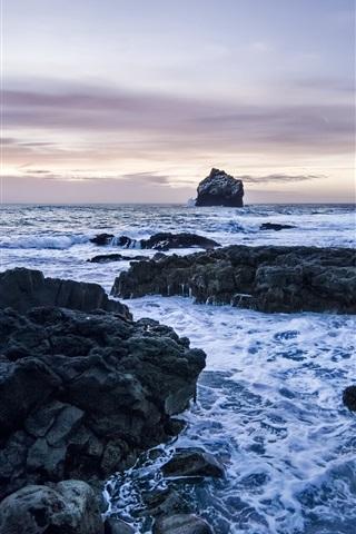 iPhone Wallpaper Rocks, sea, coast, dusk, clouds