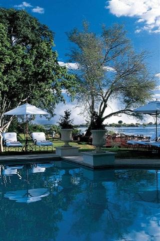 iPhone Wallpaper Royal, Livingston, pool, hotel, lake