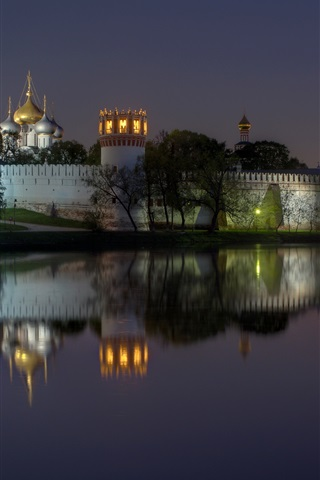 iPhone Wallpaper Russia, Moscow, Novodevichy Convent, monastery, night, lights, river