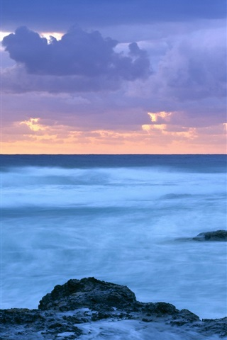 iPhone Wallpaper Sea, coast, dusk, Coolangatta, Queensland, Australia