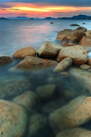 iPhone Wallpaper Sea, coast, sunset, rocks, clouds, dusk