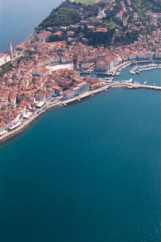 iPhone Wallpaper Slovenia, Piran, peninsula, buildings, dock, top view, sea