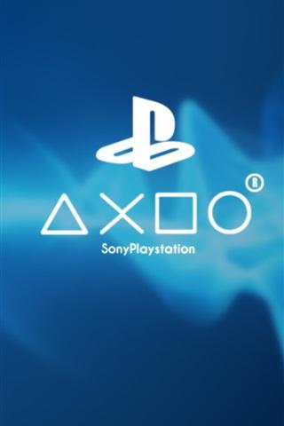 iPhone Papéis de Parede Sony Playstation logotipo jogo, fundo azul