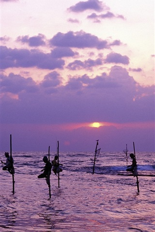 iPhone Wallpaper Sri Lanka, sea, dusk, people fishing