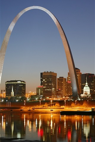 iPhone Wallpaper St. Louis, city night, Gateway Arch, houses, lights, river, America