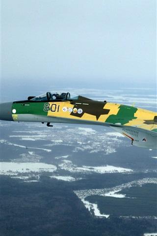 iPhone Wallpaper Su-35S versatile fighter, Russian