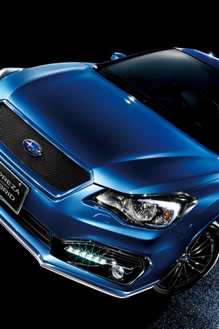 iPhone Wallpaper Subaru Impreza sport hybrid blue car at night