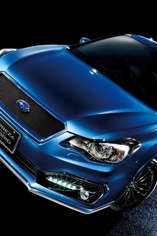 iPhone Papéis de Parede híbrida desporto Subaru Impreza carro azul à noite