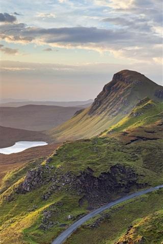 iPhone Wallpaper Sunrise, Quiraing, Isle of Skye, Scotland, UK, mountains