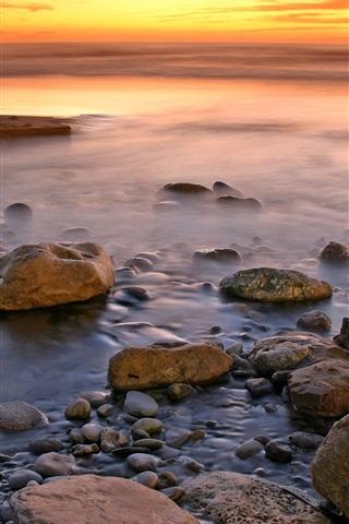 iPhone Wallpaper Sunset coast, stones, sea, red sky