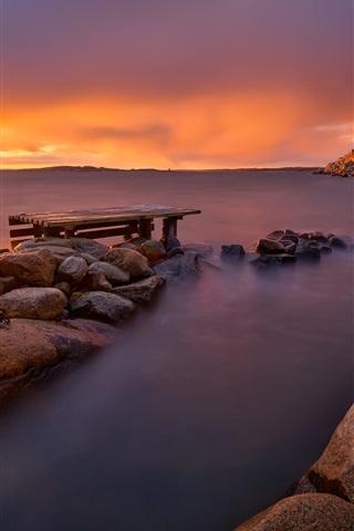 iPhone Wallpaper Sunset sea, sun rays, dusk, rocks