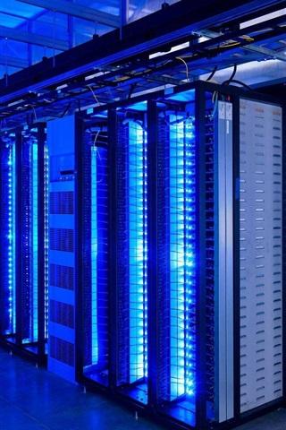 iPhone Wallpaper Supercomputer, data center, blue light