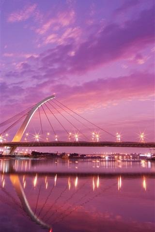 iPhone Wallpaper Taiwan, city night, bridge, river, lights