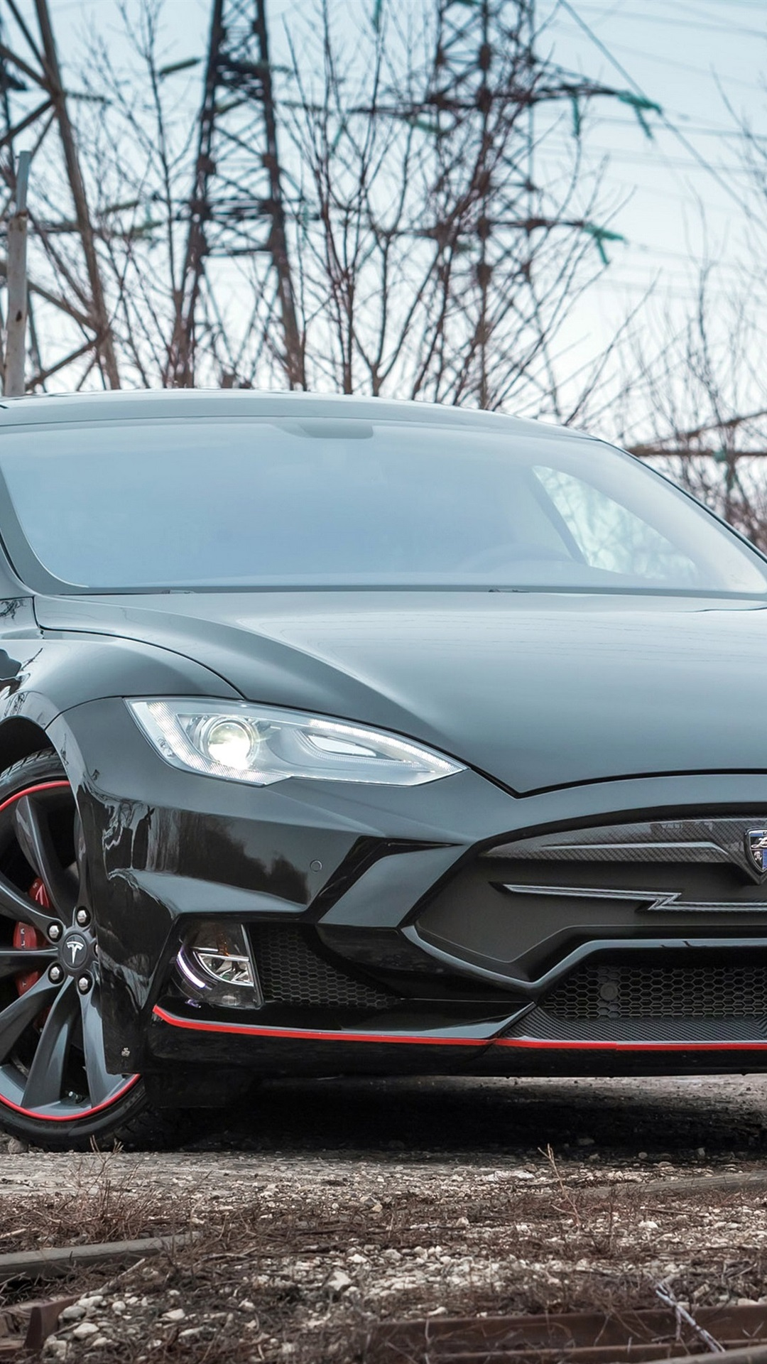 Tesla Model S Black Electric Car Front View 1080x1920 Iphone 8 7 6