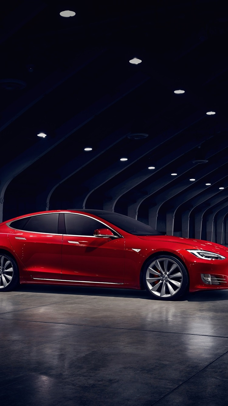 Tesla Model S Red Electric Car Side View 750x1334 Iphone 8 7 6 6s