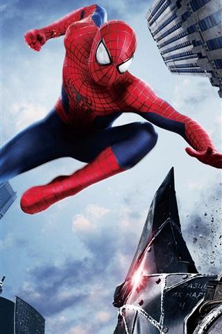 iPhone Wallpaper The Amazing Spider Man 2, city, hero