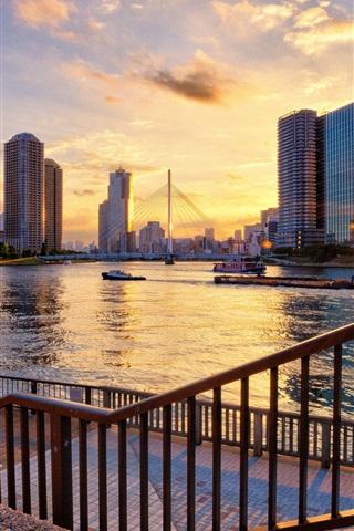 iPhone Wallpaper Tokyo, Japan, river, skyscrapers, bridge, sunset